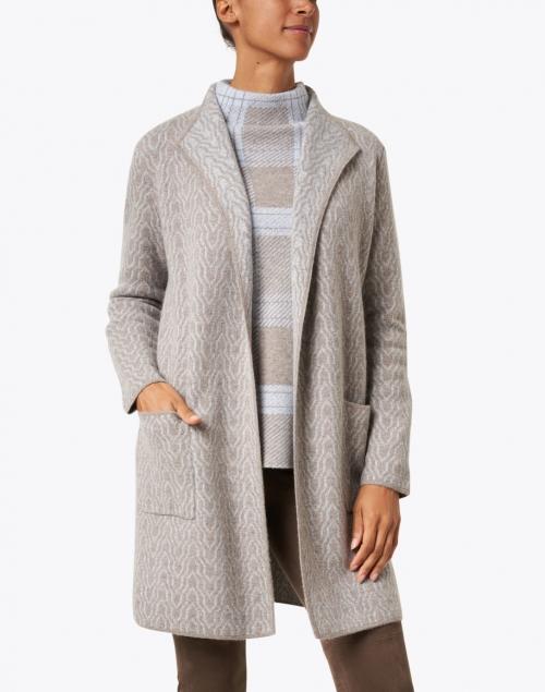 Kinross - Beige Jacquard Knit Reversible Cashmere Cardigan