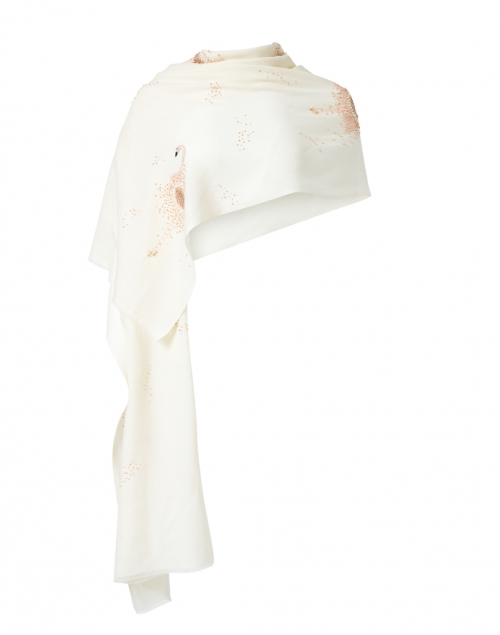 Janavi - Ivory and Pink Flamingos Sequined Embroidered Wool Scarf