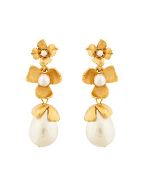 Oscar de la Renta - Gold Pearl Flower Drop Earrings