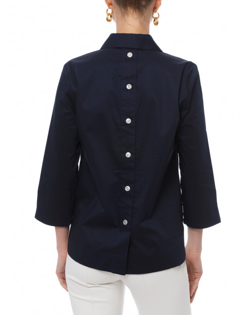 Hinson Wu - Aileen Navy Button Back Stretch Poplin Shirt