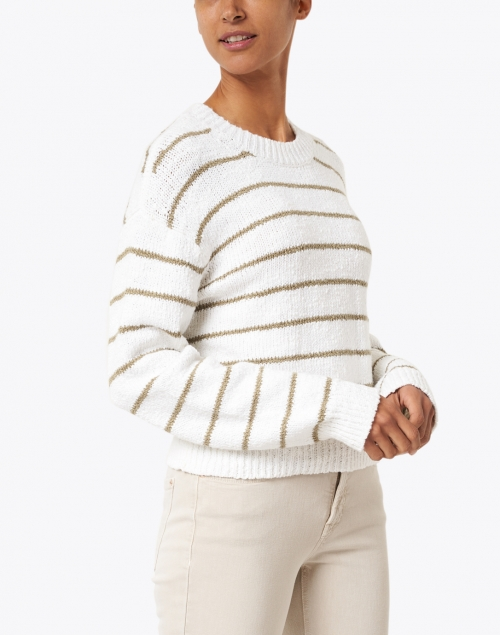 Vince - Optic White and Bay Leaf Striped Cotton Sweater