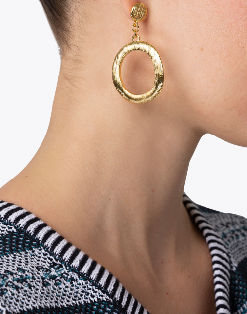 Nest - Brushed Gold Drop Hoop Earring