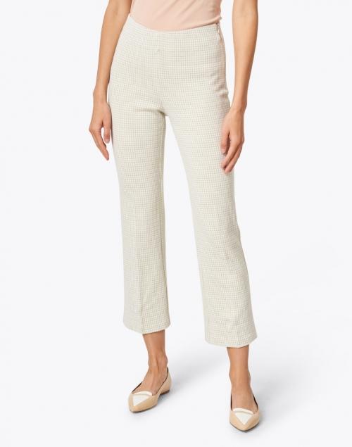 Ecru - Prince Lime and White Check Stretch Cotton Pant