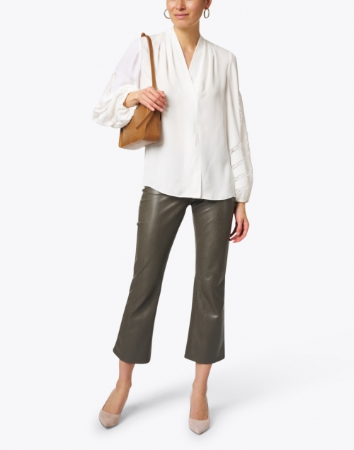 Cambio - Ray Olive Stretch Vegan Leather Flare Pant