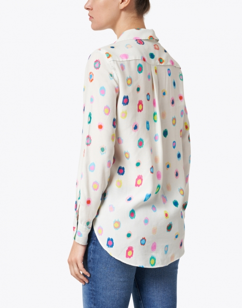 Vilagallo - Gaby White and Multi Print Button Up Shirt