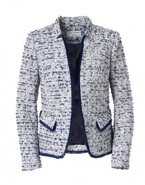Helene Berman Navy and White Tweed Notched Jacket