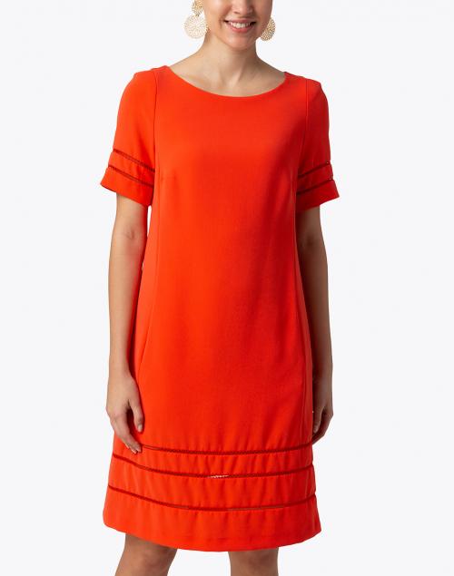 Maison Common -  Orange Shift Dress with Fagoting Detail