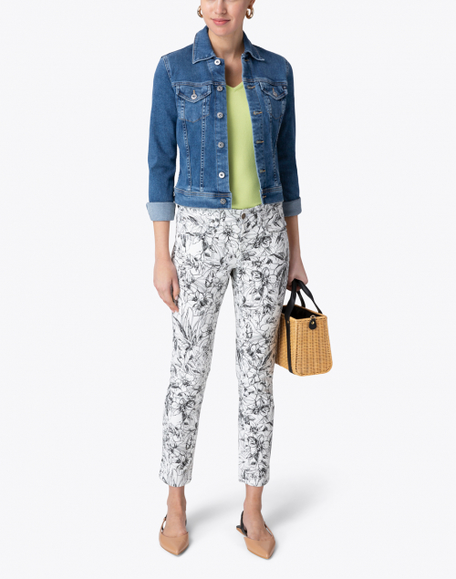 Cambio - Pina White and Black Floral Super Stretch Ankle Jean