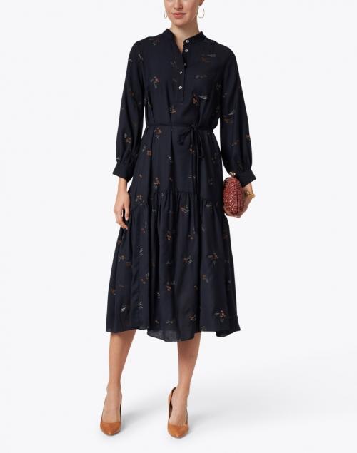 Megan Park - Zuri Navy Floral Embroidered Dress