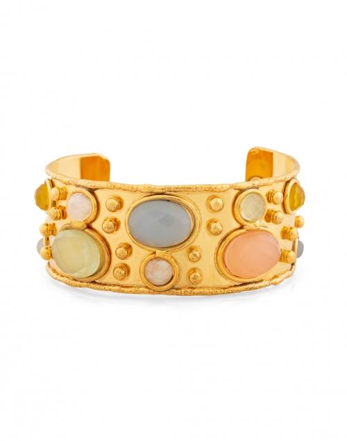 Sylvia Toledano - Pink Quartz and Pale Green Onxy Stoned Cuff Bracelet
