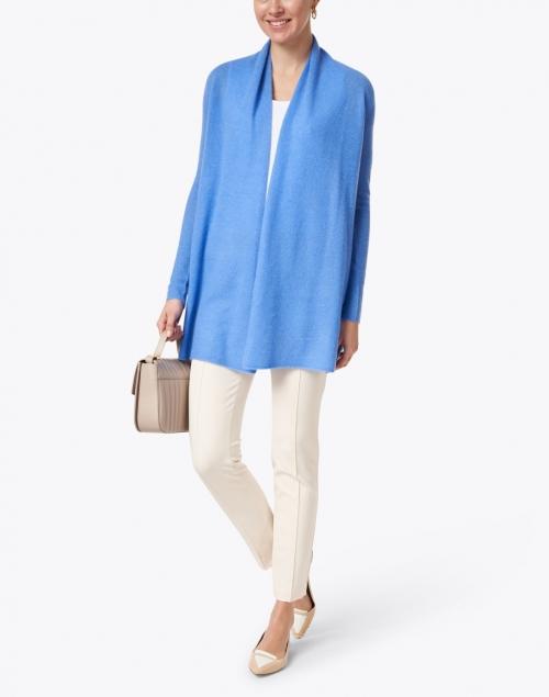 White + Warren - Blue Daisy Essential Cashmere Cardigan