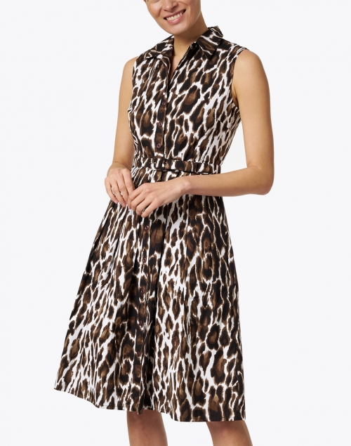 Samantha Sung - Audrey Sepia Animal Printed Stretch Cotton Dress