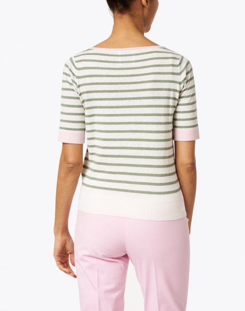 Allude - Green and Ivory Stripe Cotton Linen Sweater