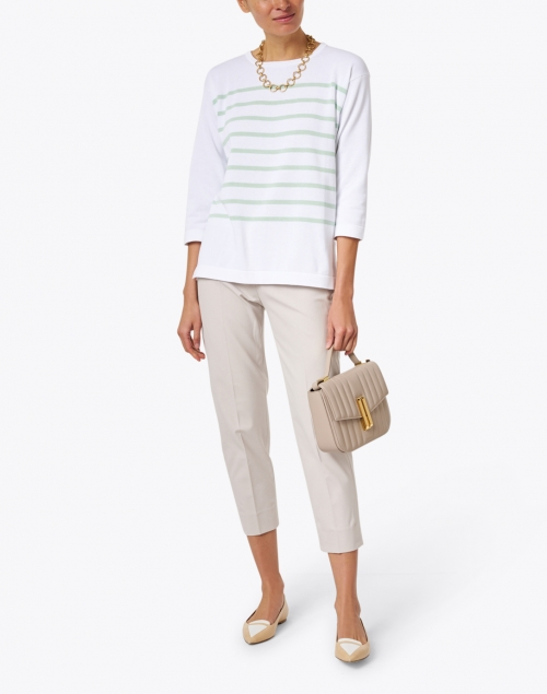 Amina Rubinacci - Capri White and Green Striped Cotton Sweater