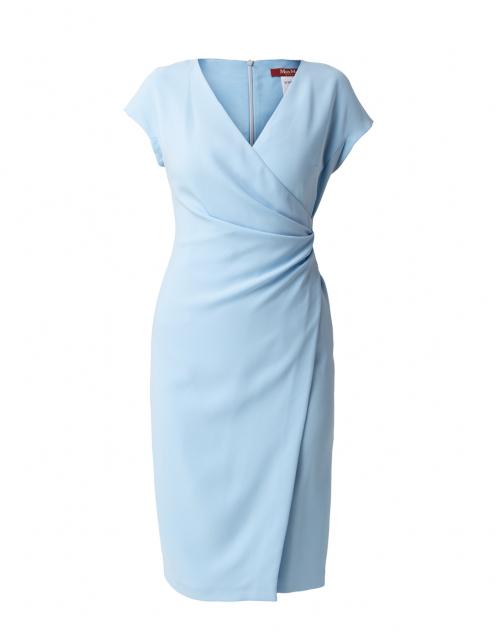 Max Mara Studio Parola Light Blue Ruched Dress