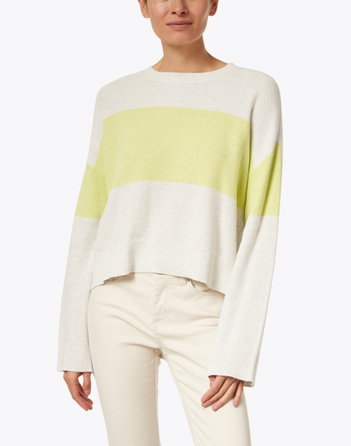 Lisa Todd - Bold Move Light Grey and Citron Cotton Pullover Sweater