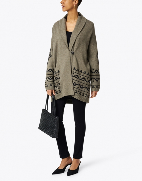 Repeat Cashmere - Green and Black Geo Print Wool and Cashmere Cardigan
