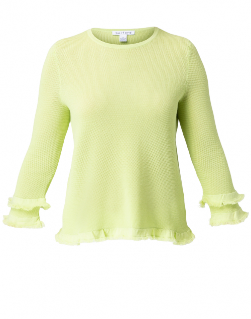 Belford Apple Green Cotton Ruffle Sleeve Sweater