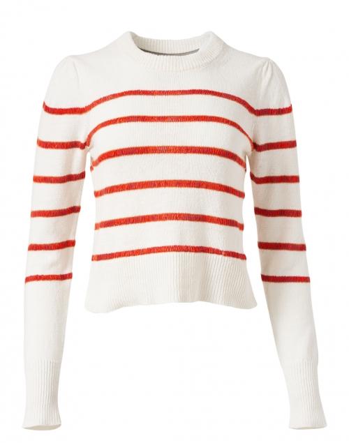 Brochu Walker Danon Vermillion Red Stripe Linen Cotton Sweater