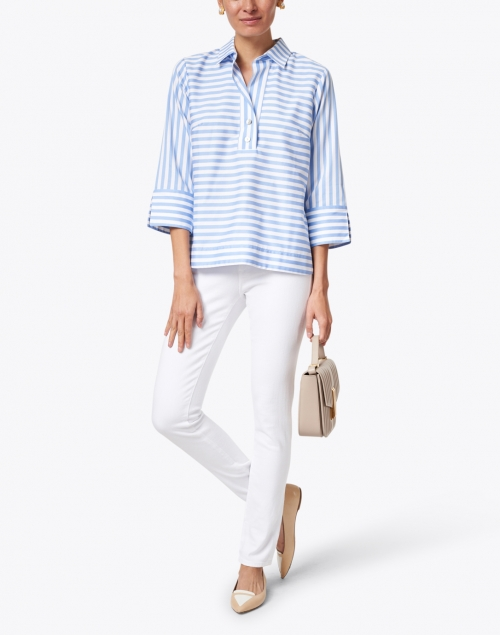 Hinson Wu - Aileen Blue and White Striped Cotton Top