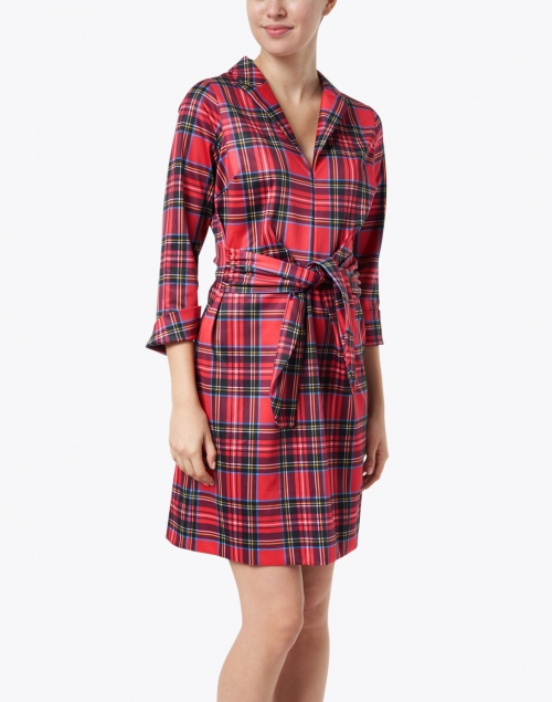 Gretchen Scott - Draper Red Tartan Plaid Tie Waist Dress