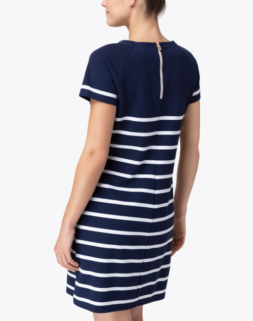Sail to Sable - Navy and White Striped Ponte Dress