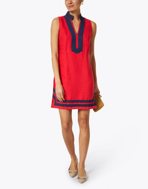 Sail to Sable - Red Stretch Linen Classic Tunic Dress