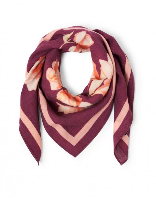 Megan Park - Arya Bordeaux and Pink Floral Print Wool Scarf