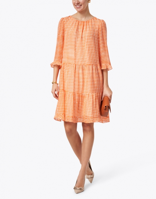 Marc Cain - Orange and White Block Print Ruffle Sleeve Tiered Dress