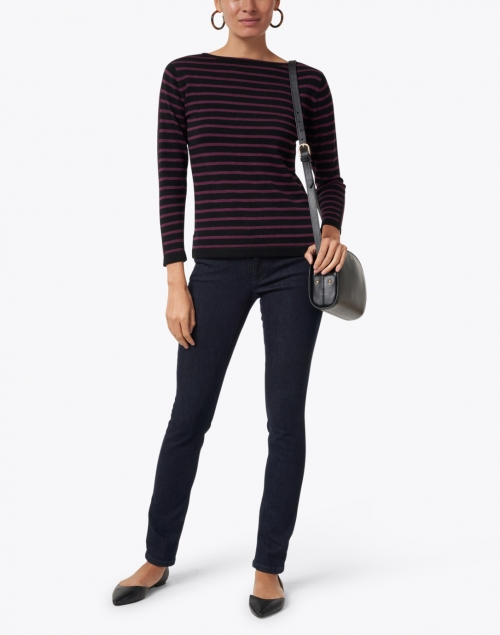 Blue -  Black and Bordeaux Striped Pima Cotton Sweater