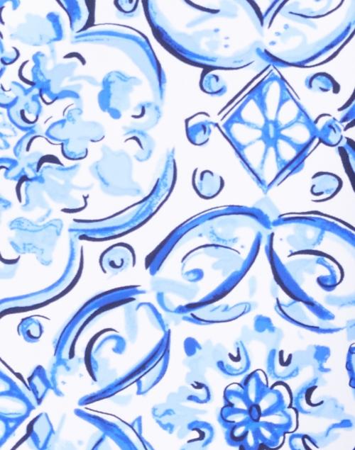 Jude Connally - Ella Blue Painted Tile Printed Dress