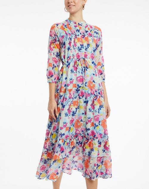 Banjanan - Bazaar Fiesta Blue and Orange Floral Cotton Dress