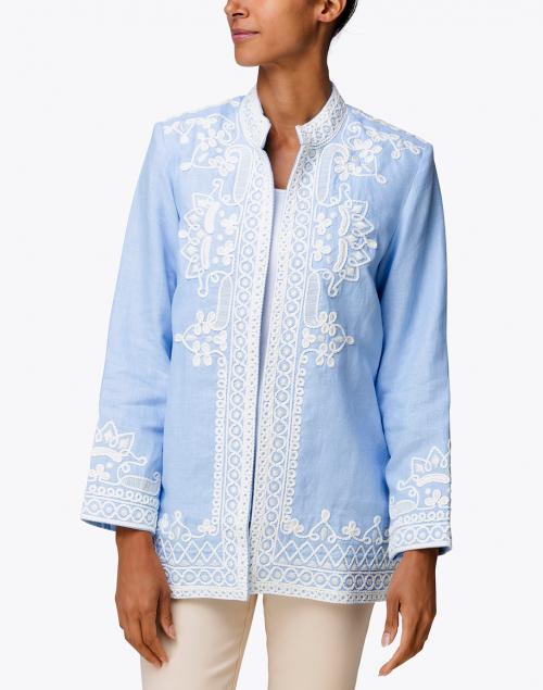 Bella Tu - Ceci Light Blue Embroidered Linen Coat