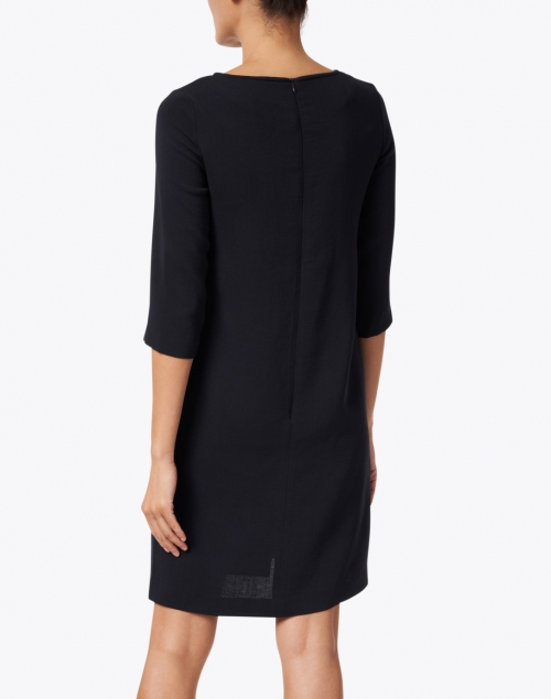 Rosso35 - Navy Wool Crepe Dress
