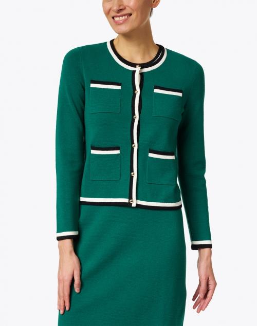 L.K. Bennett - Angie Green Knit Merino Cotton Cardigan