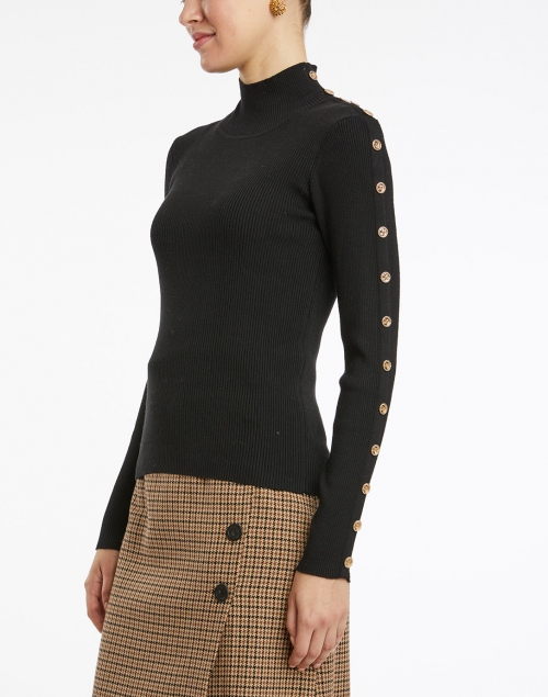 Edward Achour - Black Turtleneck with Gold Buttons