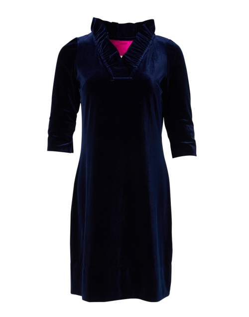 Gretchen Scott - Navy Velvet Ruffle Neck Dress