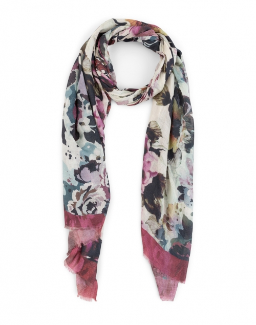 Bindya Bordeaux Midnight Floral Cashmere and Silk Scarf