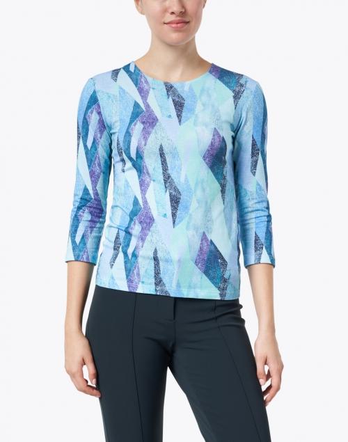 Leggiadro - Turquoise and Purple Kaleidoscope Print Cotton Jersey Tee
