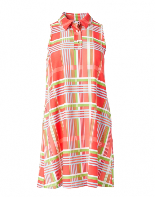 Jude Connally - Harlee Coral and Lime Plaid Dress