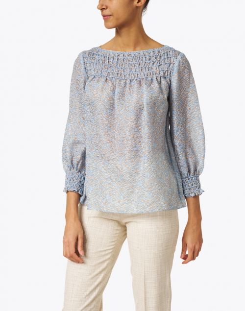 Lafayette 148 New York - Paley Blue and Beige Crinkle Silk Shirred Blouse