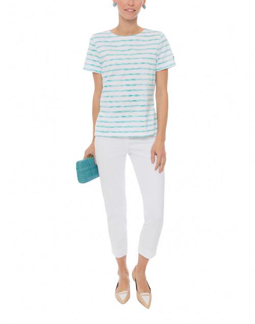 Saint James - Etrille White and Aqua Space Dye Cotton Top