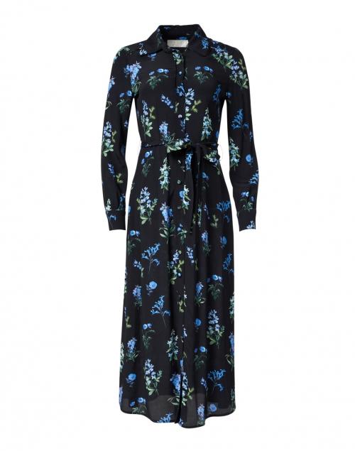 Goat Livia Blue and Black Meadow Printed Shirt Dress