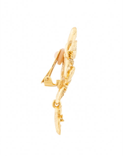 Oscar de la Renta - Gold Double Flower Drop Clip Earring