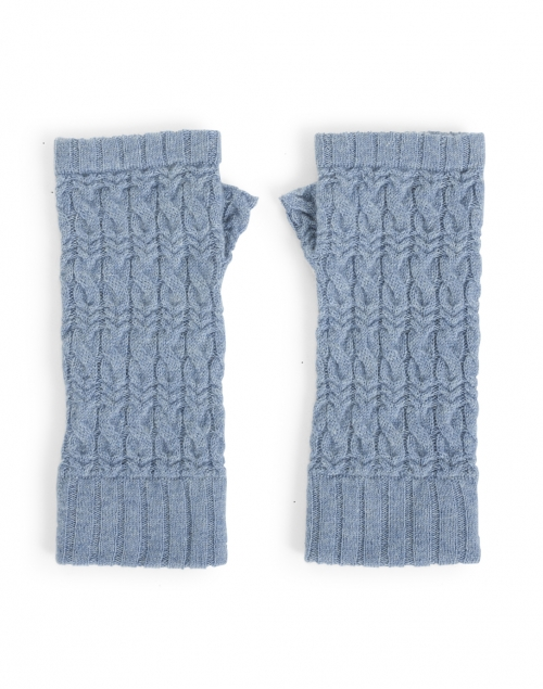 Kinross - Harbor Blue Cable Fingerless Cashmere Gloves