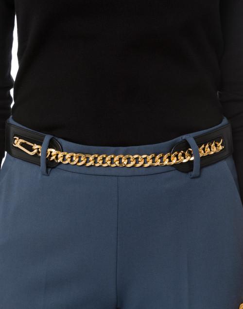 Suzi Roher - Elsie Black Suede Belt with Gold Chain Closure