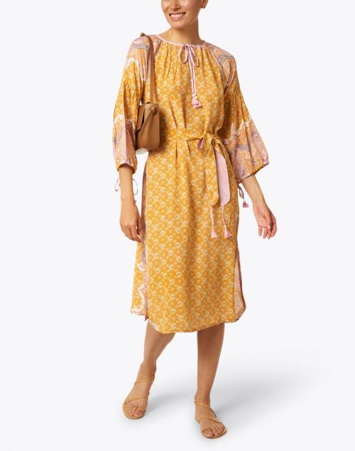 D'Ascoli - Lena Tangerine Paisley Print Silk Crepe Dress