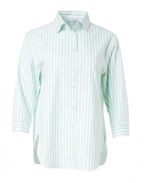 Hinson Wu Halsey Mint and White Stripe Stretch Cotton Shirt