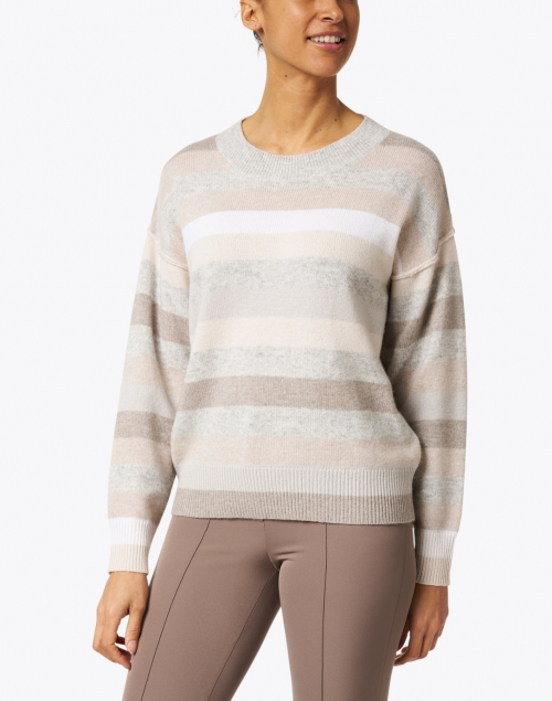 Allude - Grey and Neutral Striped Wool Cashmere Sweater