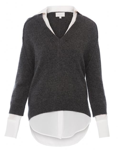 Brochu Walker - Dark Charcoal Sweater with White Underlayer